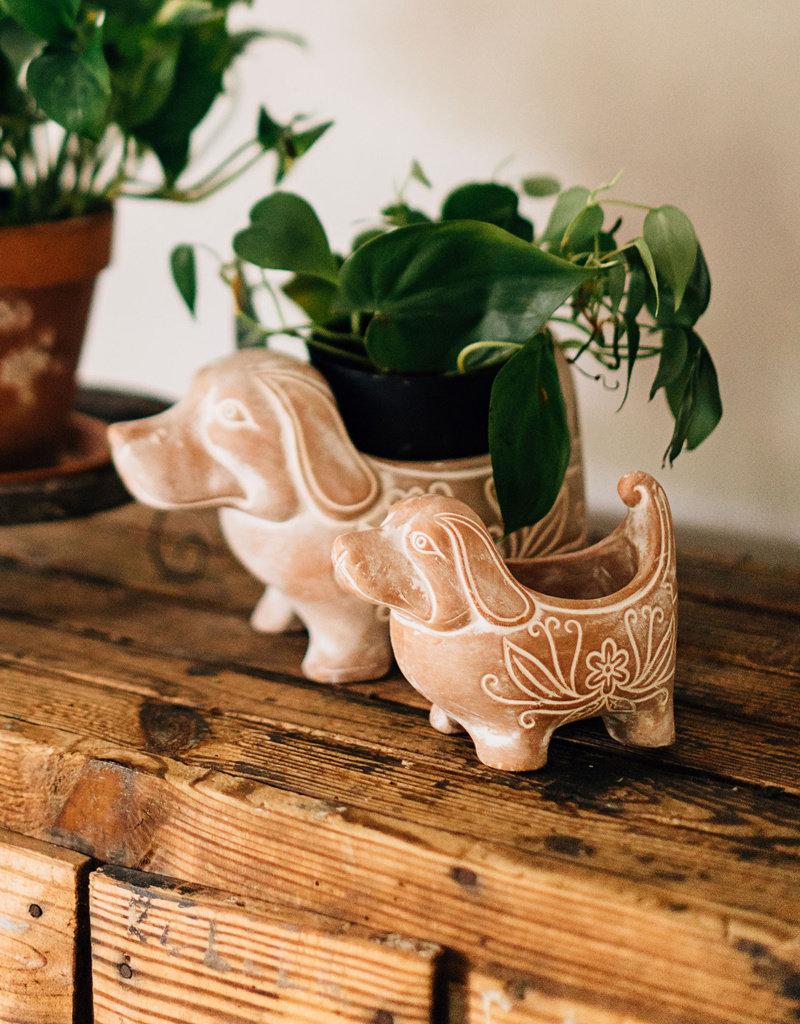 Small Ceramic Dog Planter
