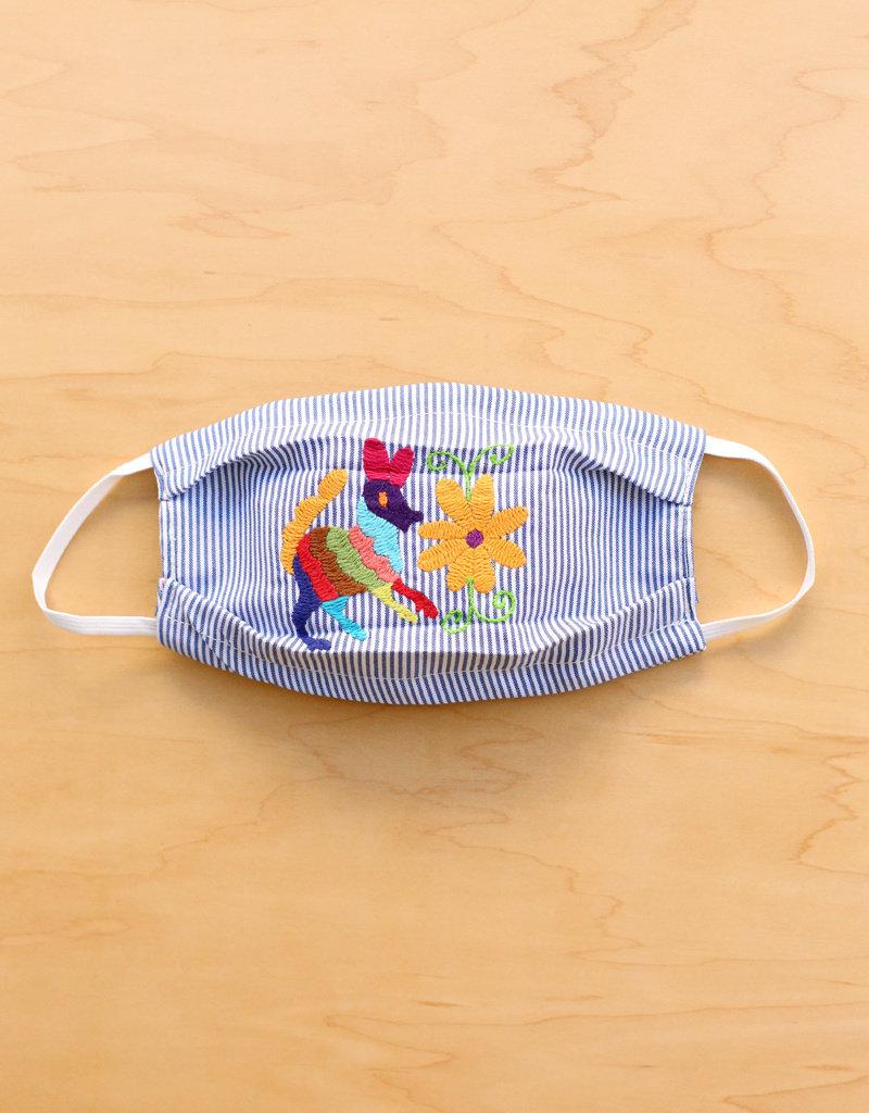 Blue Stripe Otomi Face Mask
