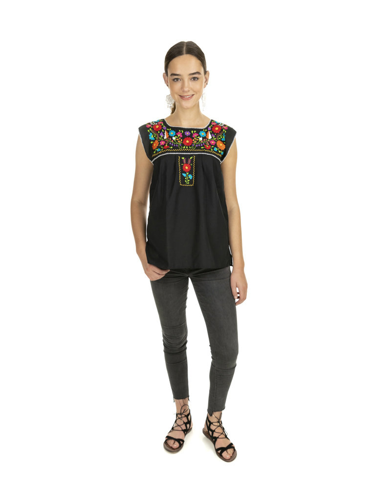 Black and Multi Puebla Blouse - sleeveless