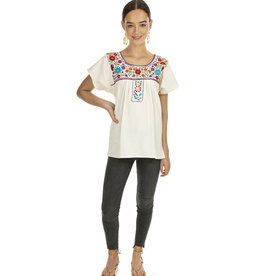 Natural and Multi Puebla Blouse