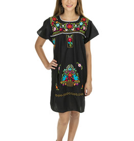 Black and Multi Puebla Mini Dress