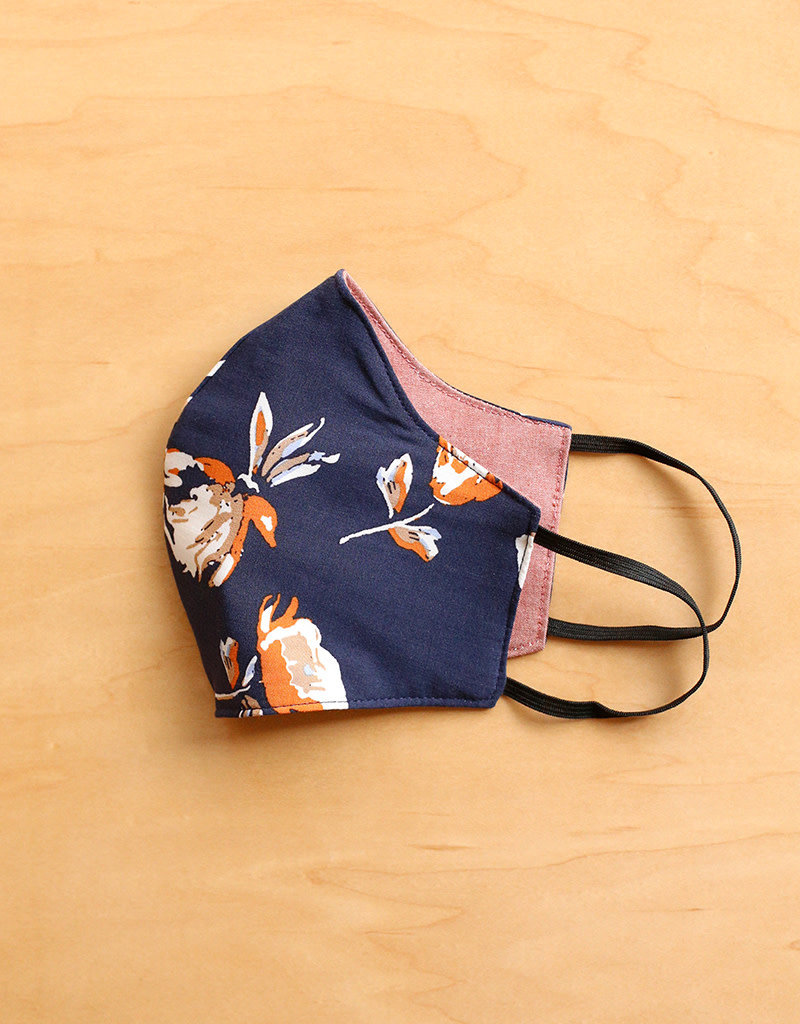 Malia Designs Navy Floral Face Mask (reversible)