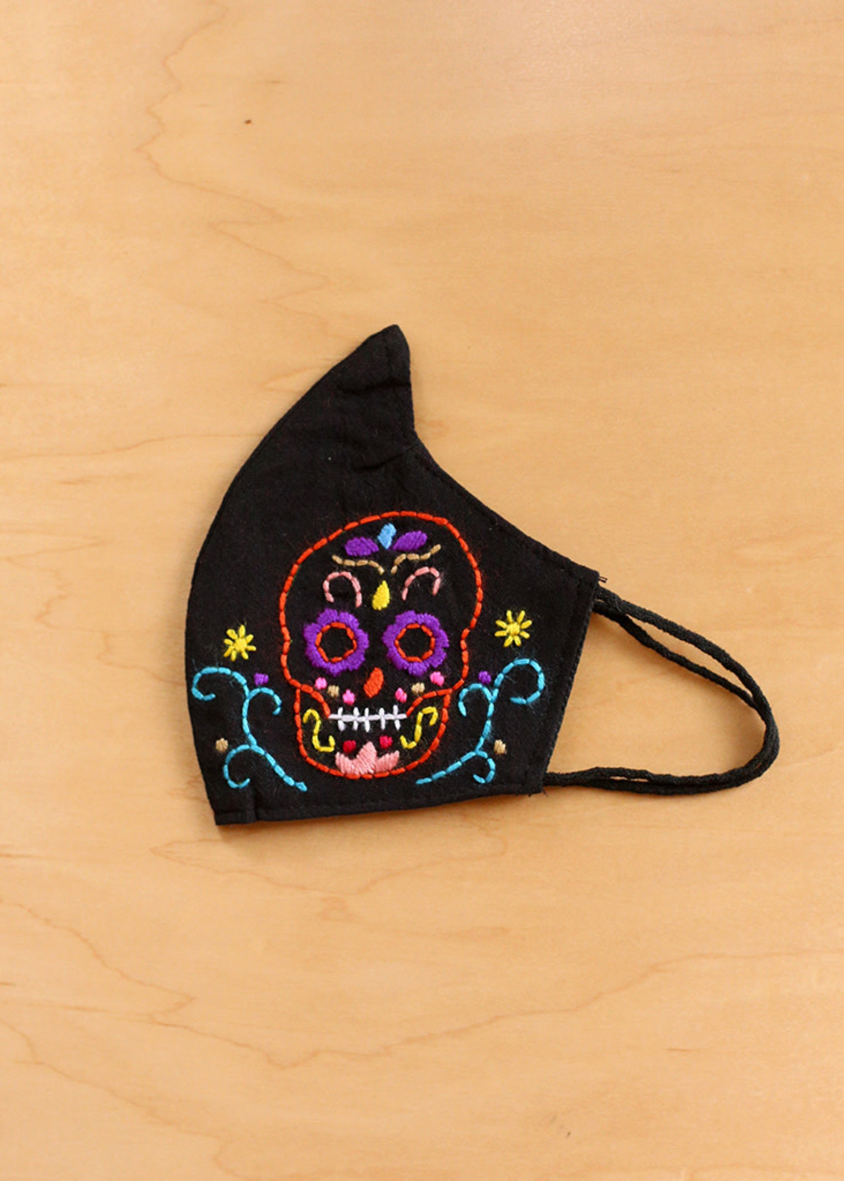 Embroidered Sugar Skull Face Mask