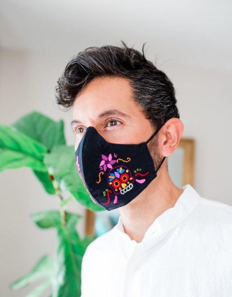 Embroidered Sugar Skull Face Mask