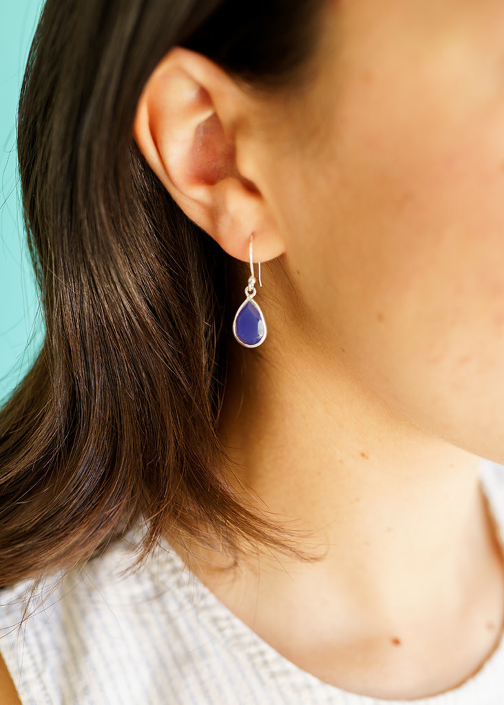 Raindrop Blue Chalcedony Earrings