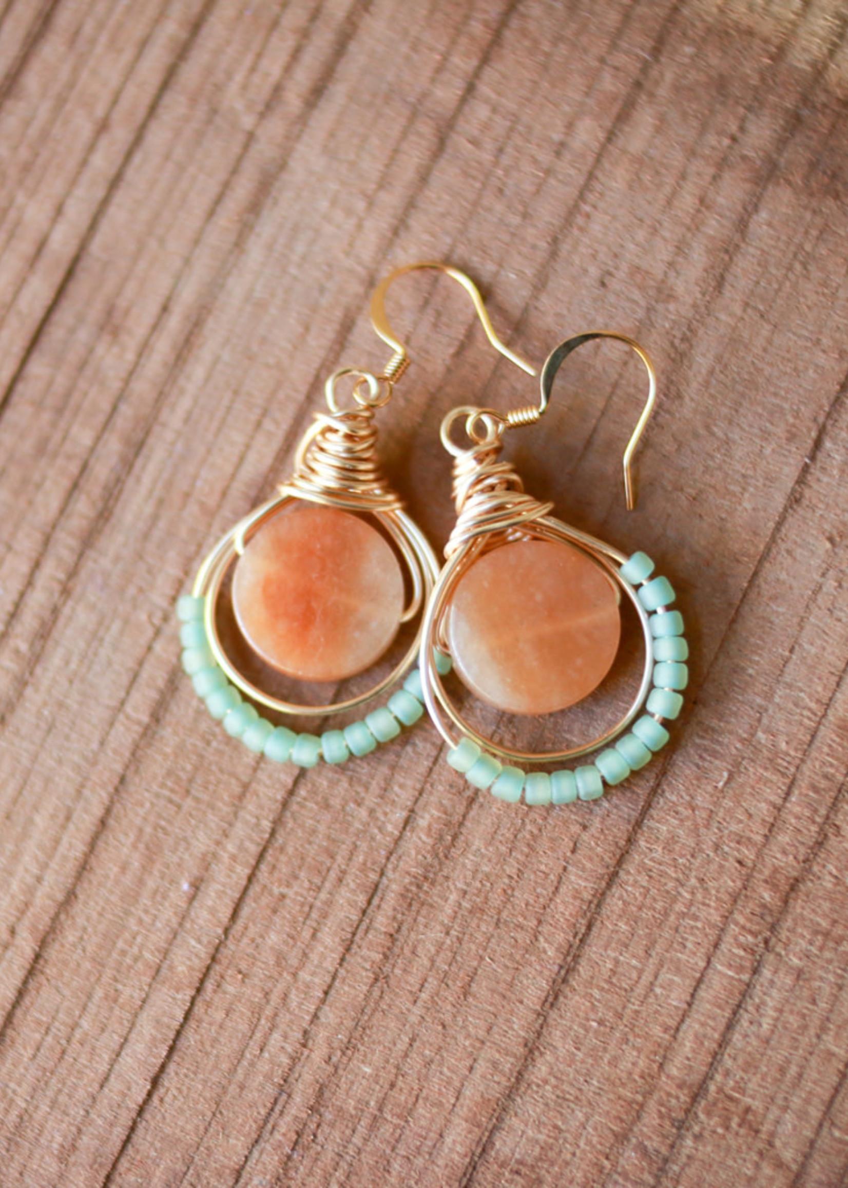 Forai Luzmila Triple Peach Calcite Gold Earrings