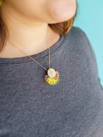 Belart Large Half Moon Mixed Flowers Necklace