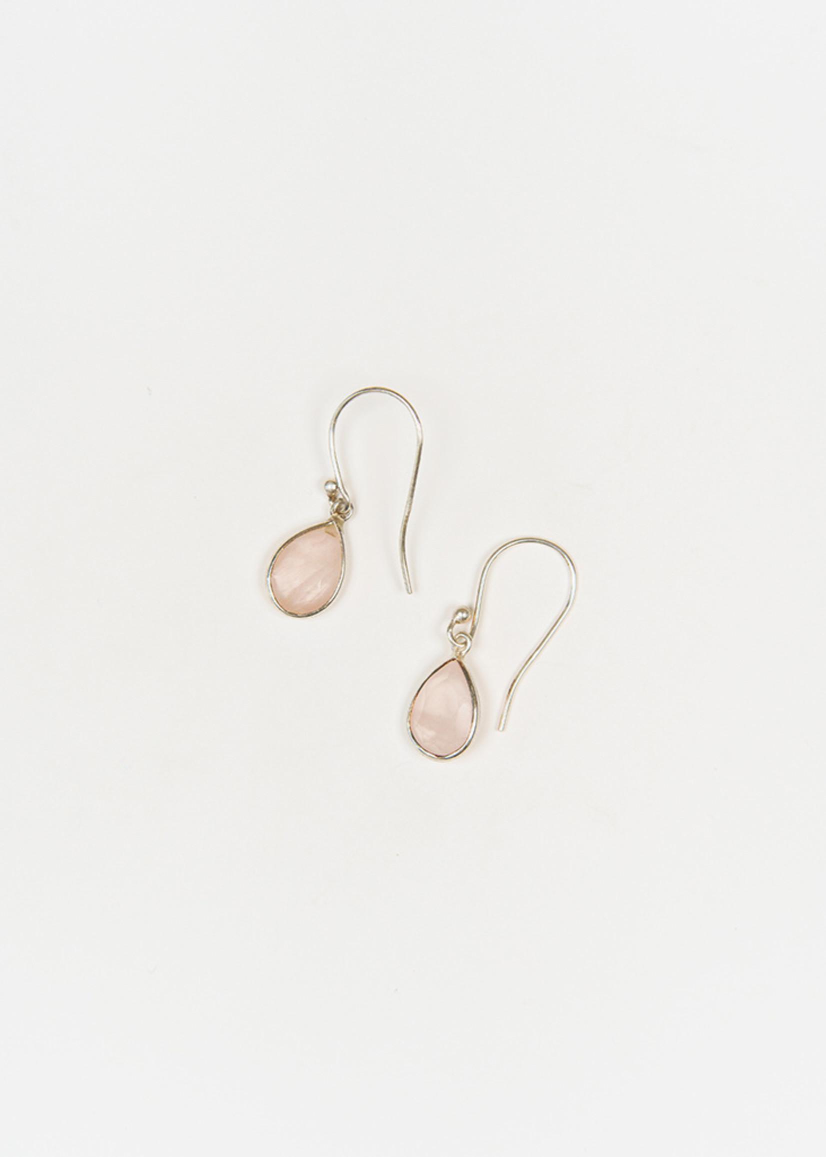Raindrop Rose Quartz Earrings