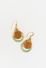 Forai Luzmila Triple Peach Calcite Gold Earrings