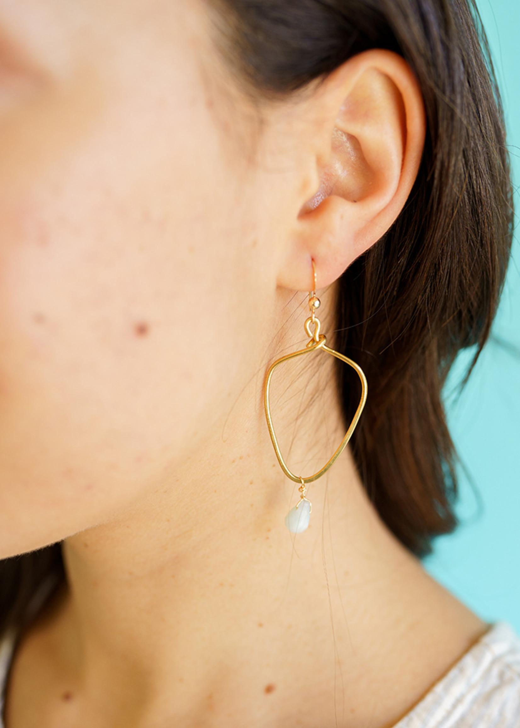 Forai Kayah Amazonite Hammered Brass Earrings