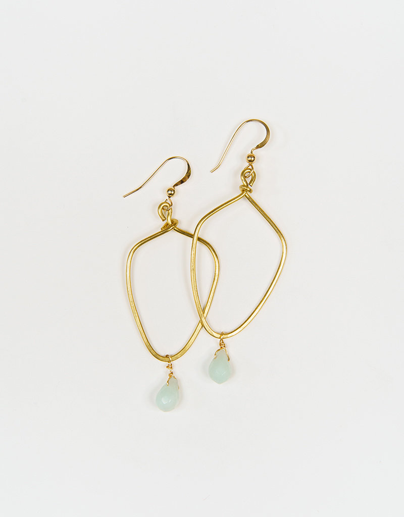 Forai Kayah Amazonite Hammered Brass Earrings