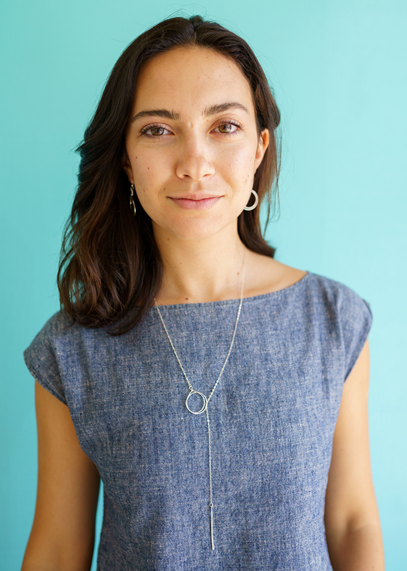 Forai Silver Circle & Line Lariat Necklace