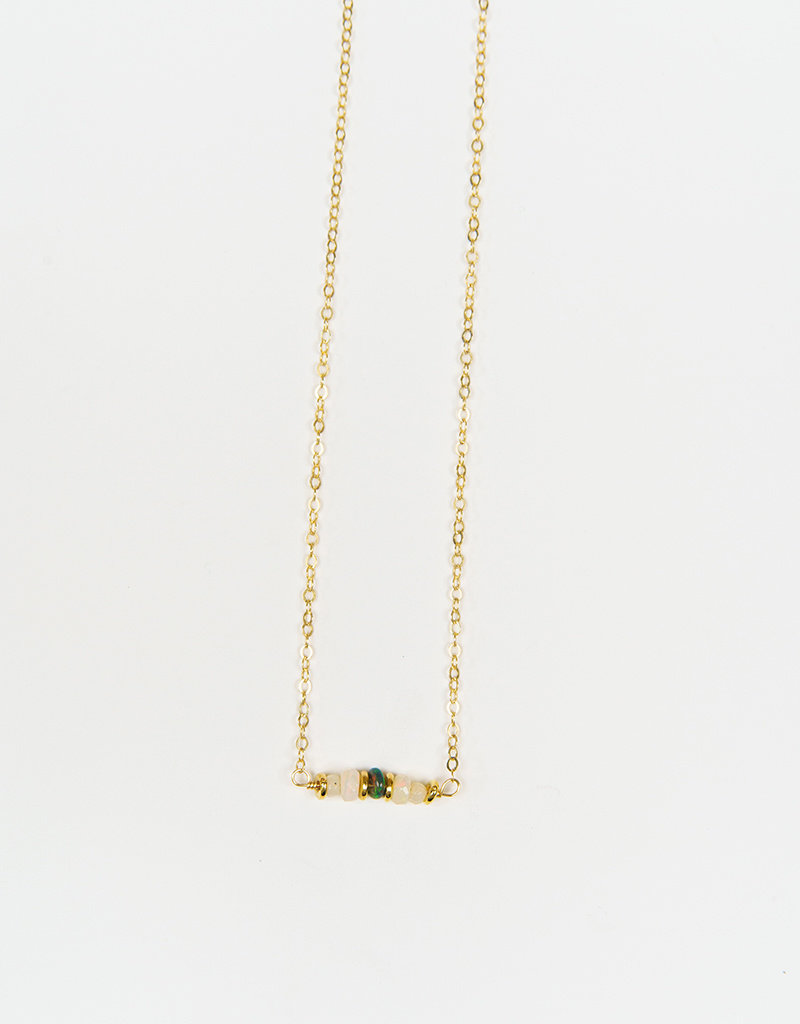Forai Shimmering Opal Beaded Bar Necklace