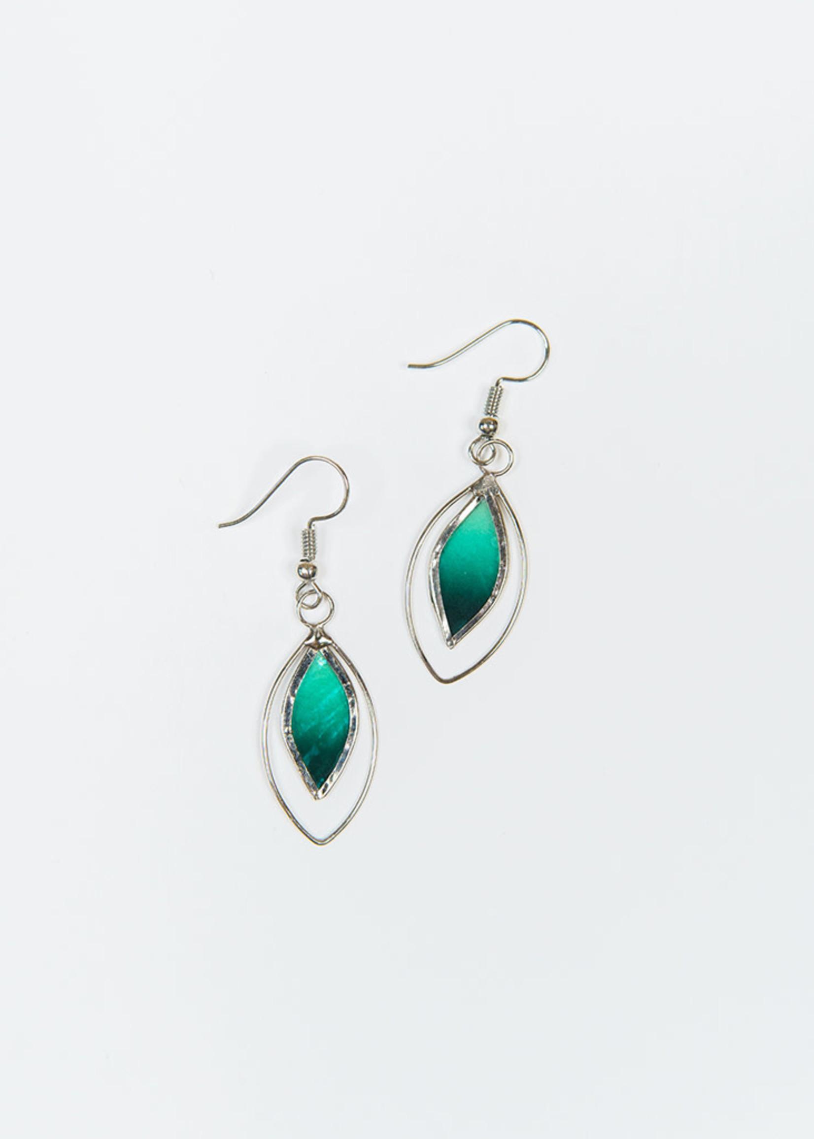 Saffy Handicrafts Green Leaf Earrings
