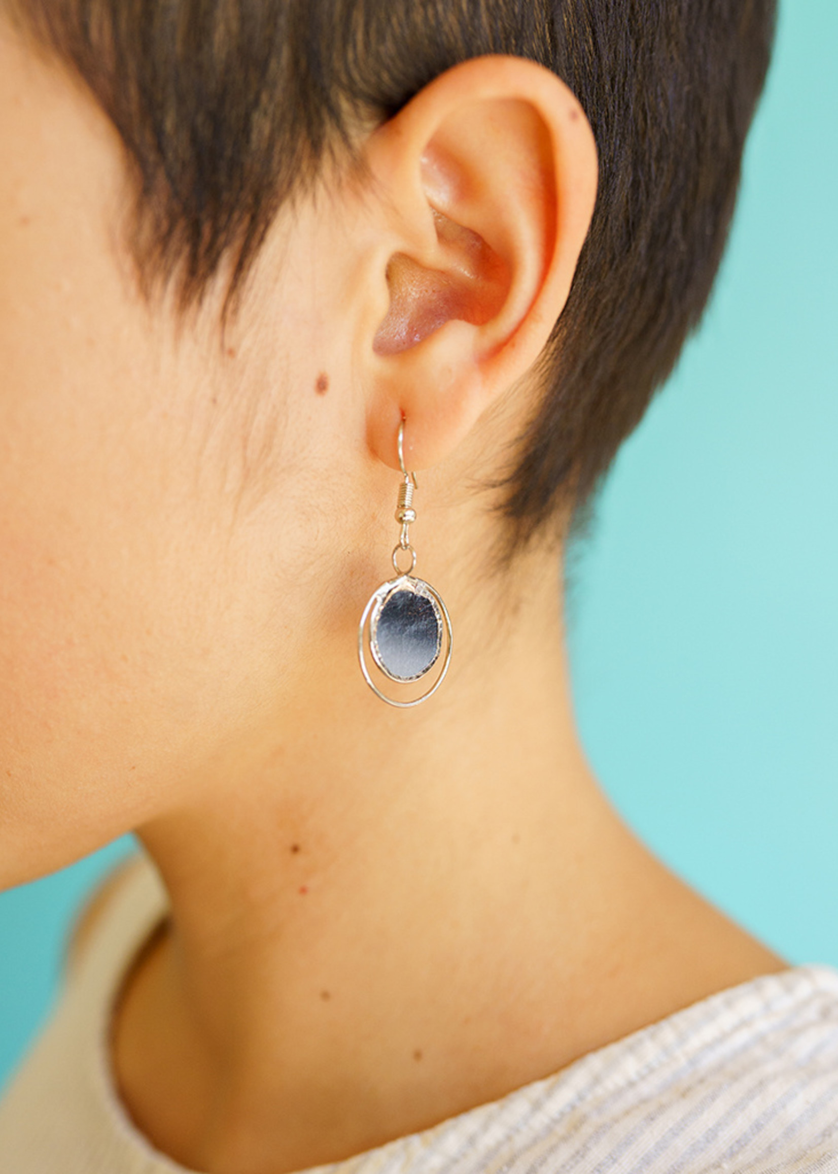 Saffy Handicrafts Grey Dusk Capiz Earrings