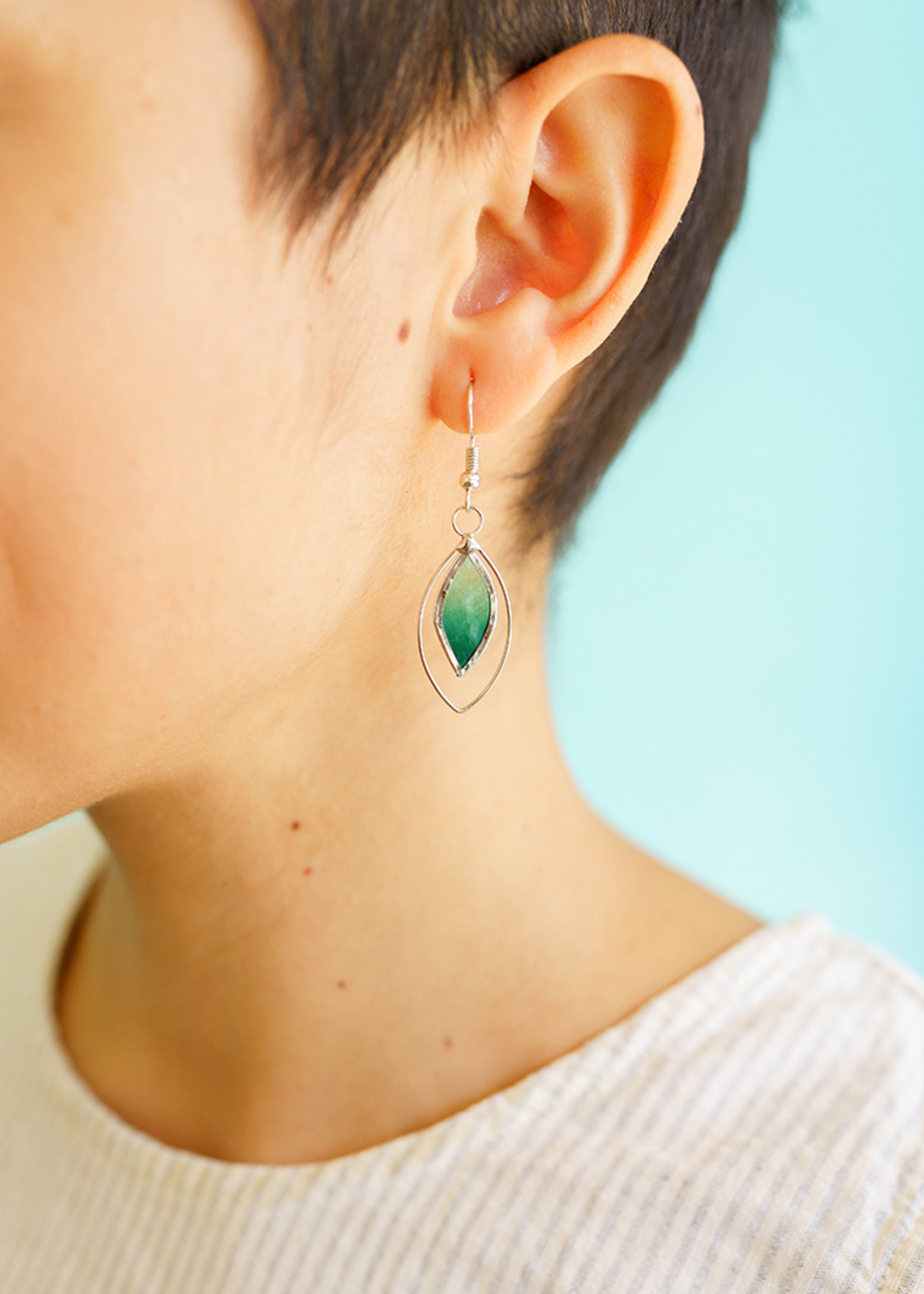 Saffy Handicrafts Green Leaf Capiz Earrings
