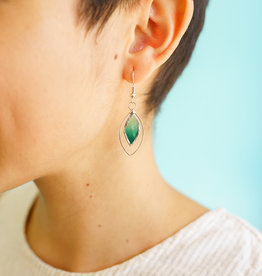 Saffy Handicrafts Green Leaf Earrings