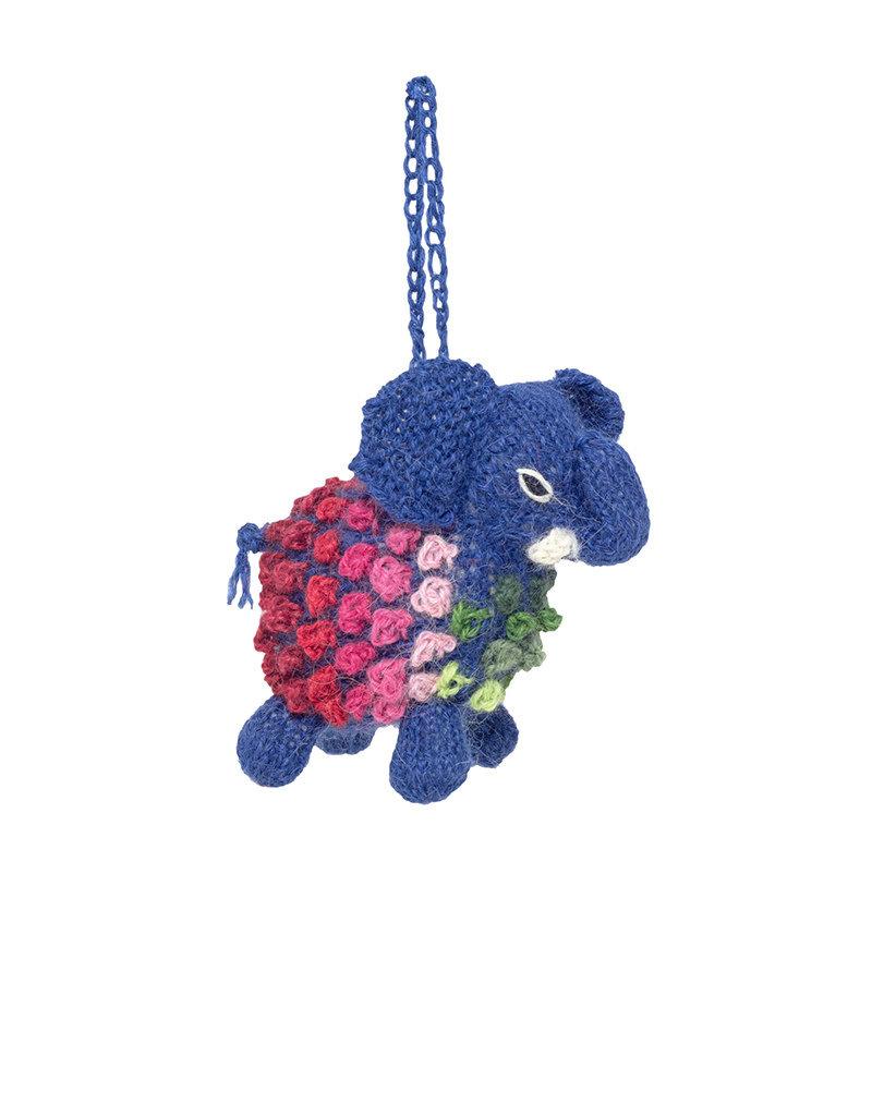 Lucuma Designs Knitted Alpaca Elephant Ornament