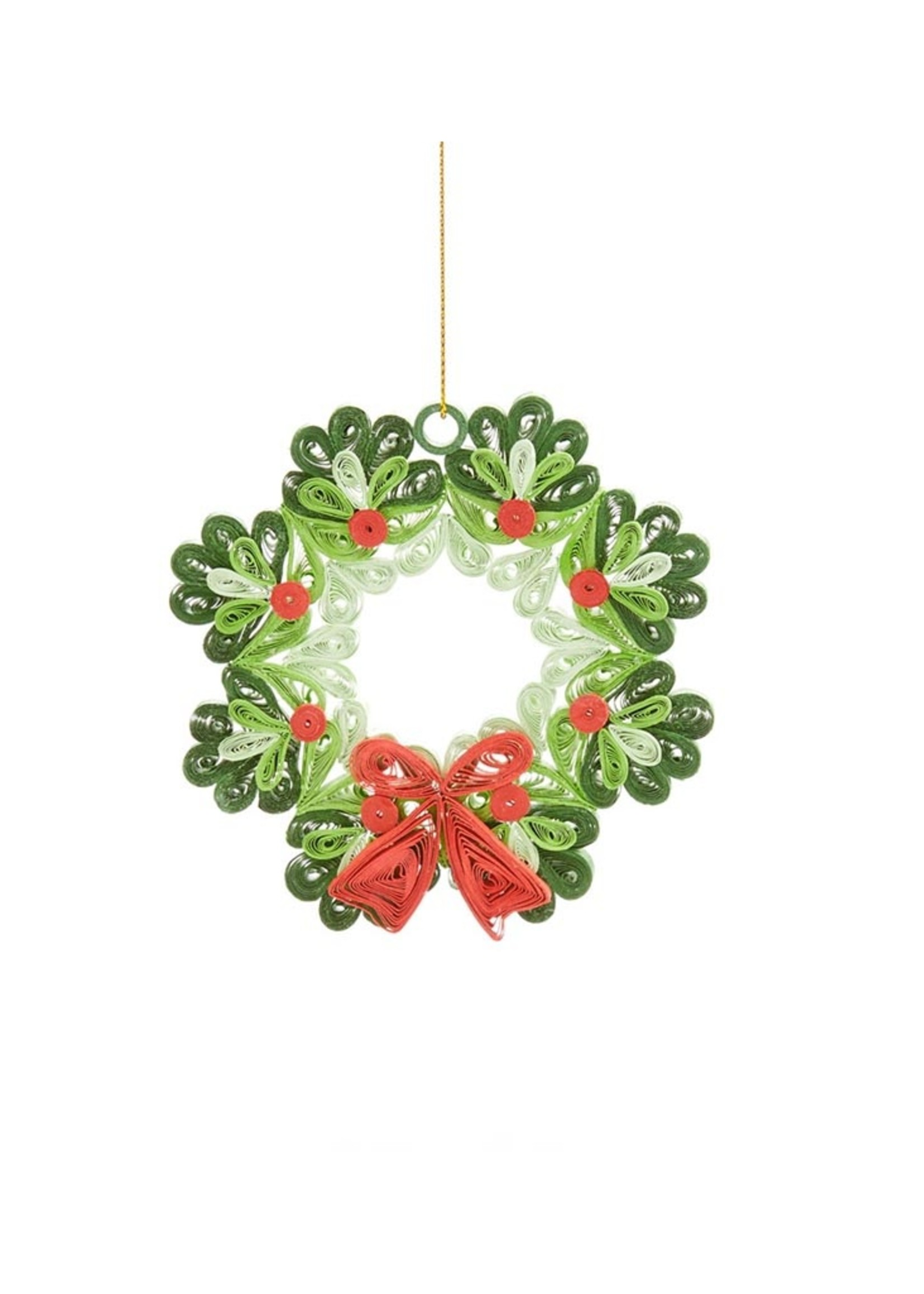 Mai Vietnamese Handicrafts Quilled Wreath Ornament