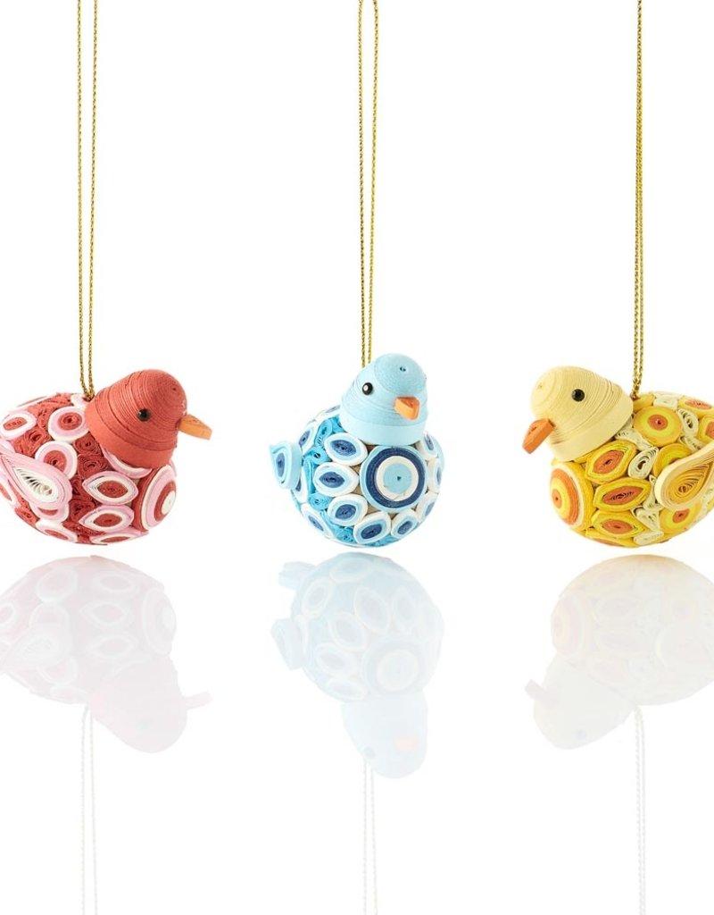 Mai Vietnamese Handicrafts Quilled Round Birds Ornament