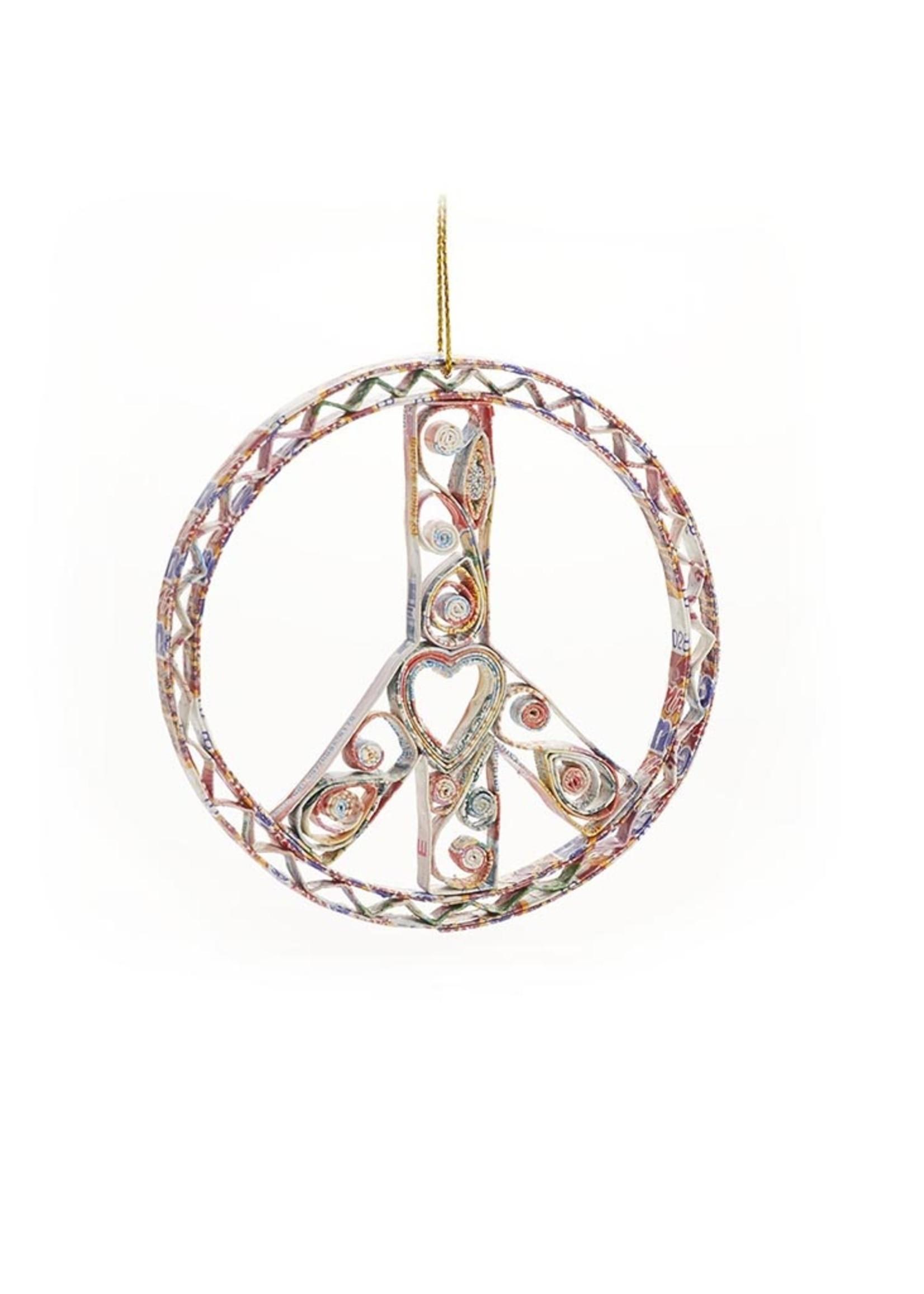 Mai Vietnamese Handicrafts Quilled Peace Sign Ornament