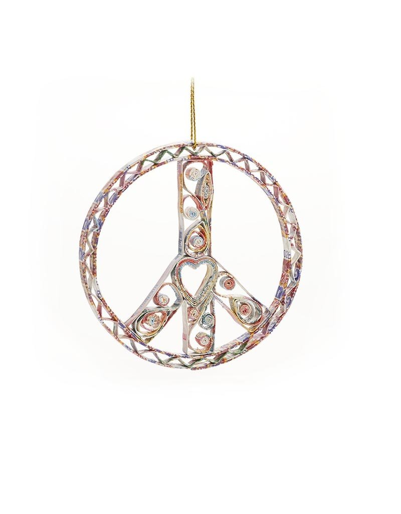 Mai Vietnamese Handicrafts Quilled Peace Sign Ornament