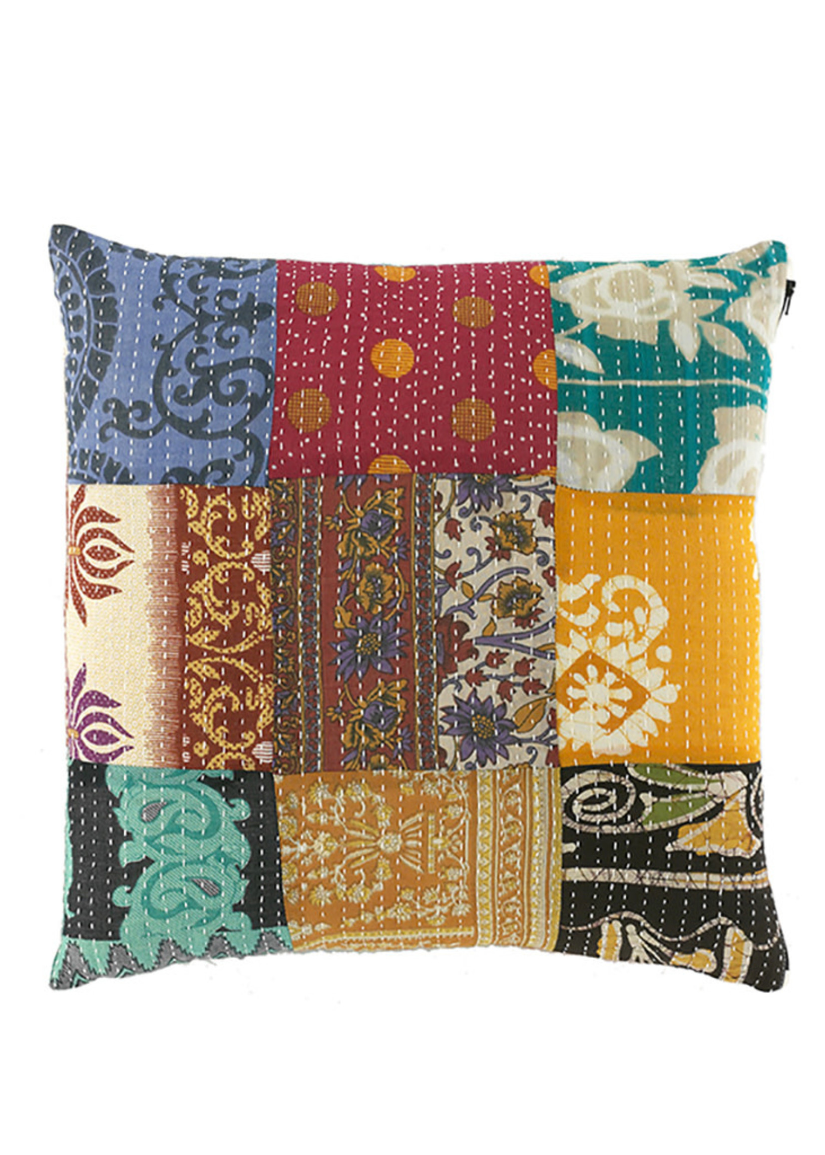 Kantha Patchwork Square Pillow