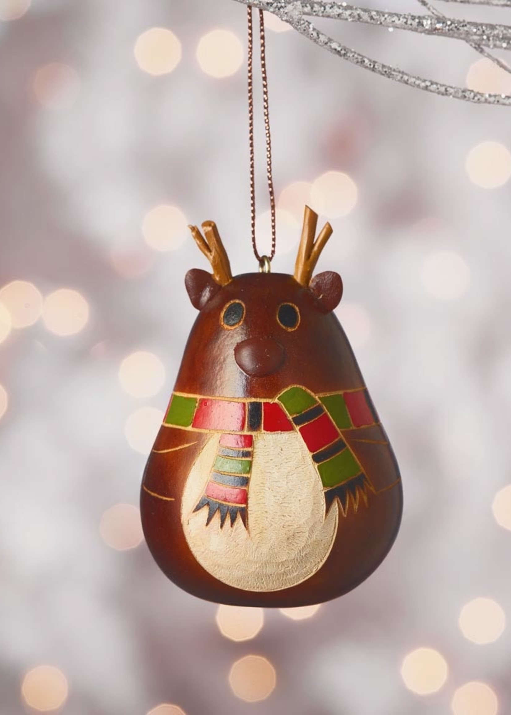 Reindeer Scarf Gourd Ornament