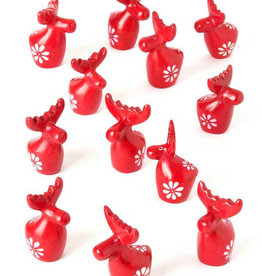 Miniature Red Soapstone Reindeer