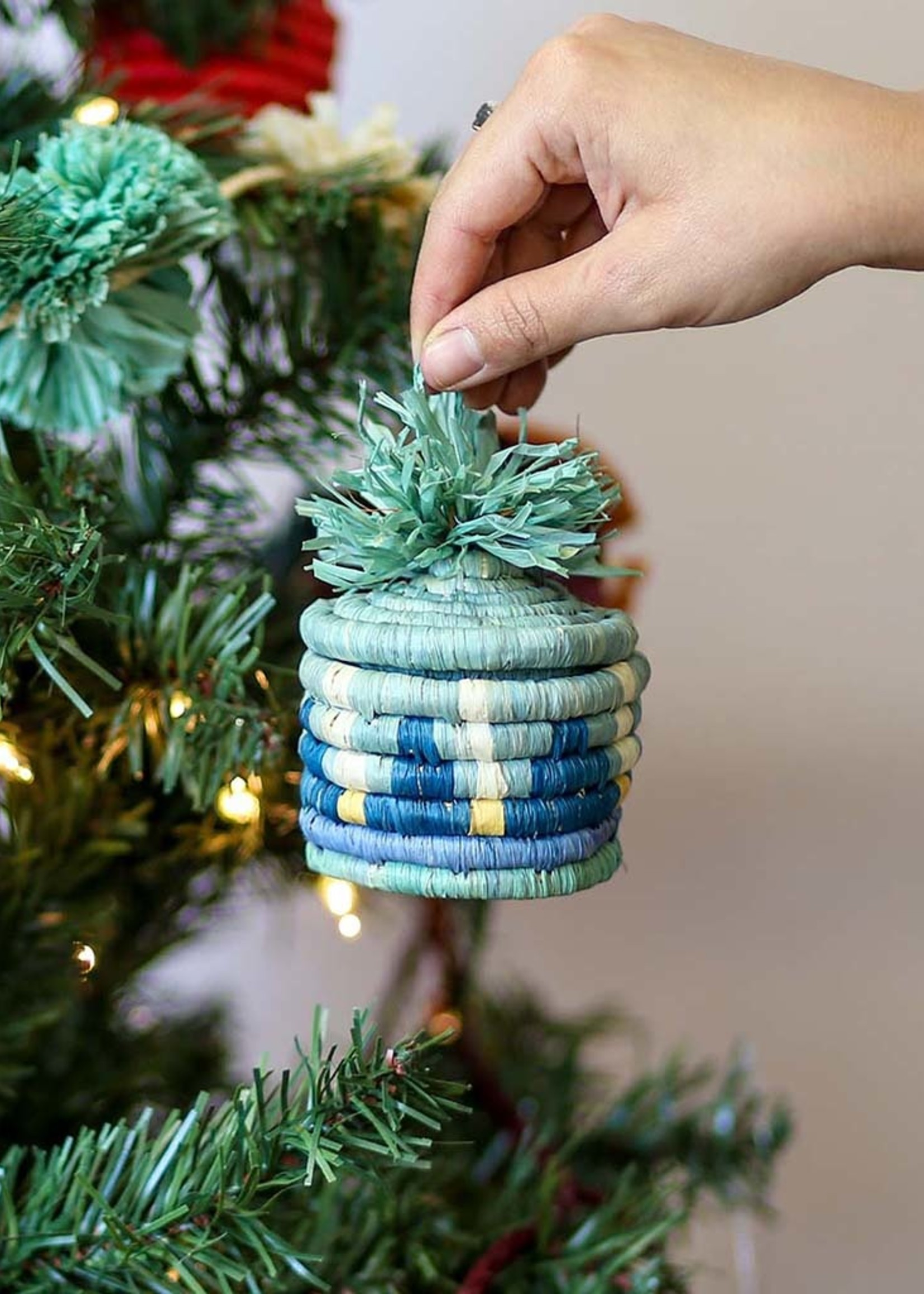 Kazi Teal + Mist Pom Pom Basket Ornament