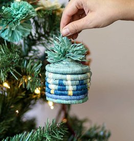 Kazi Teal + Mist Pom Pom Basket Ornament
