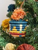 Kazi Teal + Blossom Pom Pom Basket Ornament