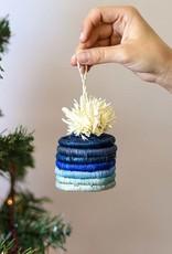 Kazi Blue Pom Pom Basket Ornament