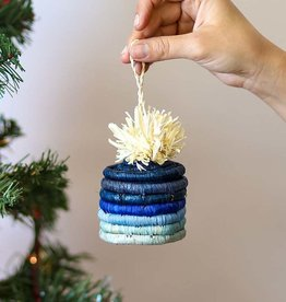 Kazi Blue Pom Pom Basket Ornament