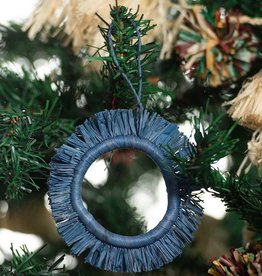 Kazi Soft Blue Fringed Hoop Ornament