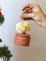 Kazi Peach Pom Pom Basket Ornament