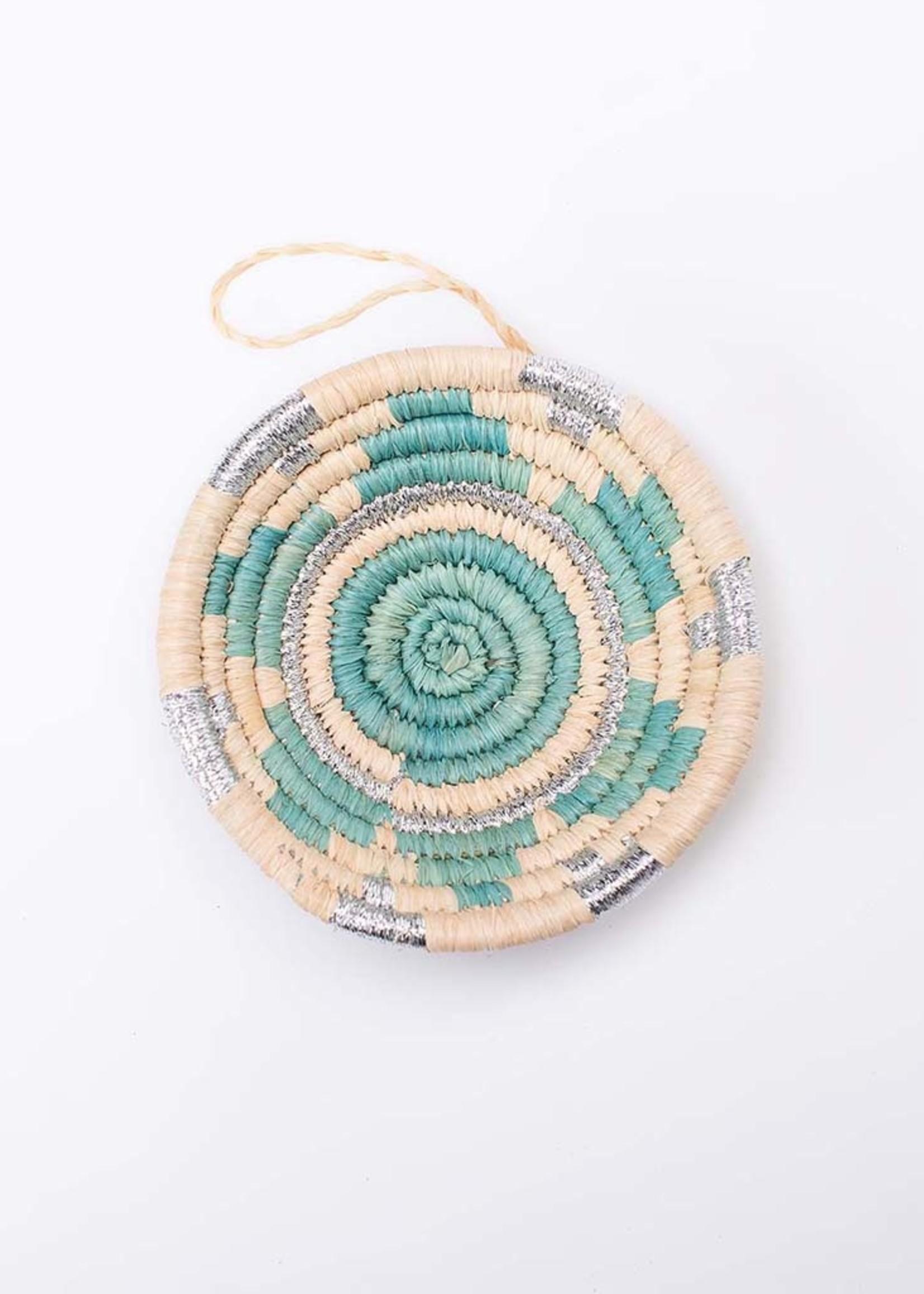 Kazi Blue + Silver Metallic Basket Ornament