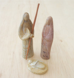 Soapstone Natural 3-Piece Nativity