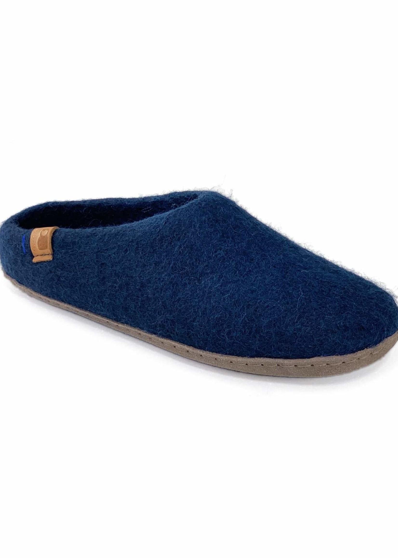 Baabushka Navy Wool Slippers