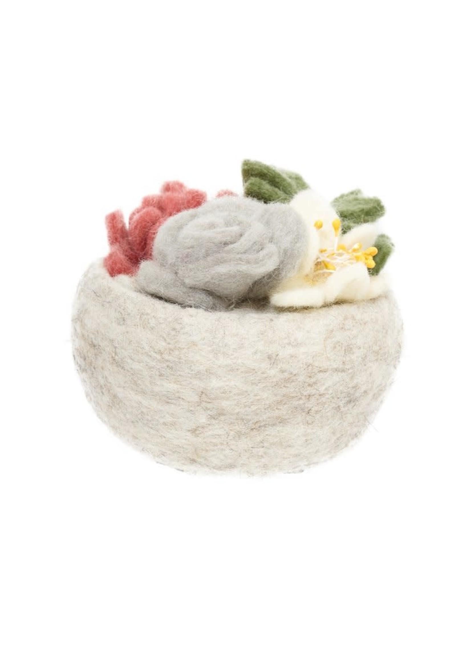 Global Goods Partners Grey Rose Succulent Bowl
