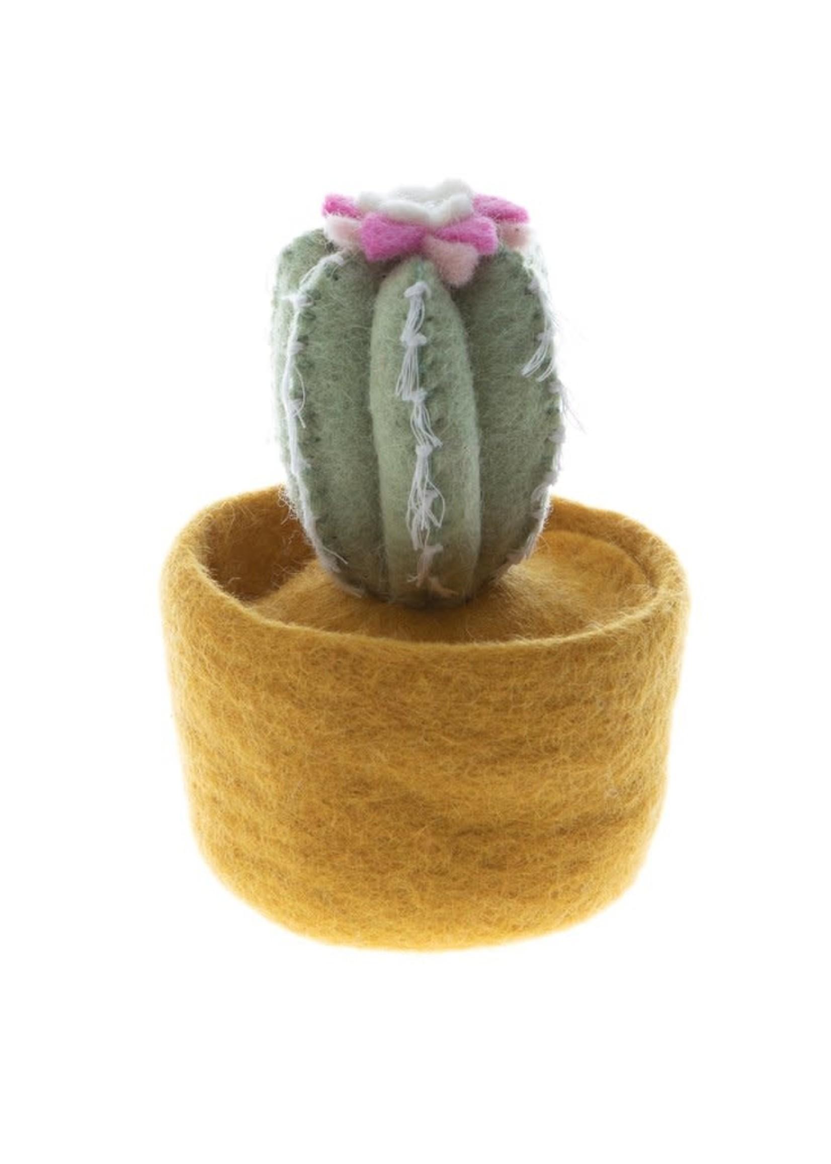 Global Goods Partners Felt Cactus in Yellow Pot
