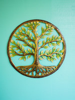 Beyond Borders Painted Classic Tree of Life Metal Art