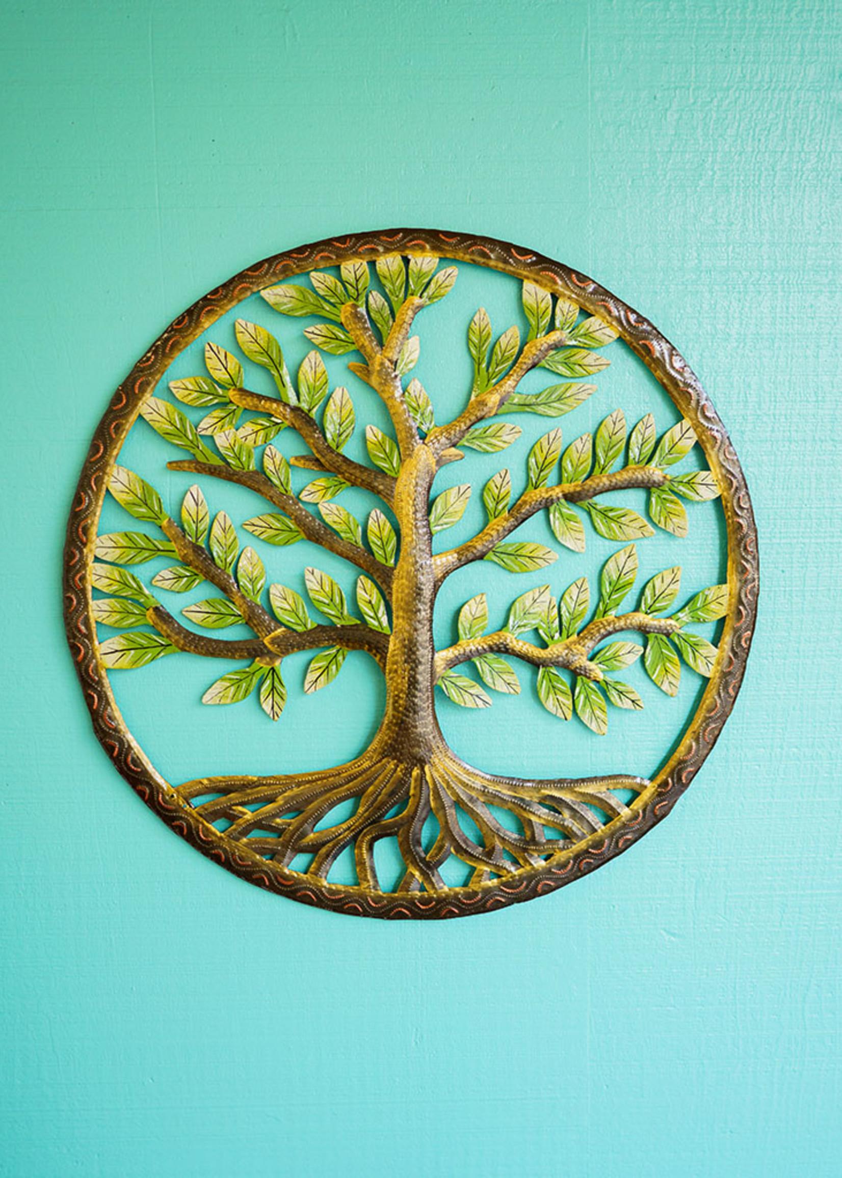 Beyond Borders Painted Classic Tree of Life Metal Art