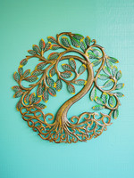 Painted Shining Tree Metal Art