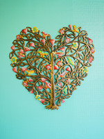 Painted Heart Tree Metal Art
