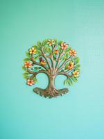 Beyond Borders Painted Floral Halo Tree Metal Art