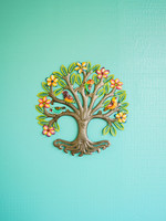 Painted Floral Halo Tree Metal Art