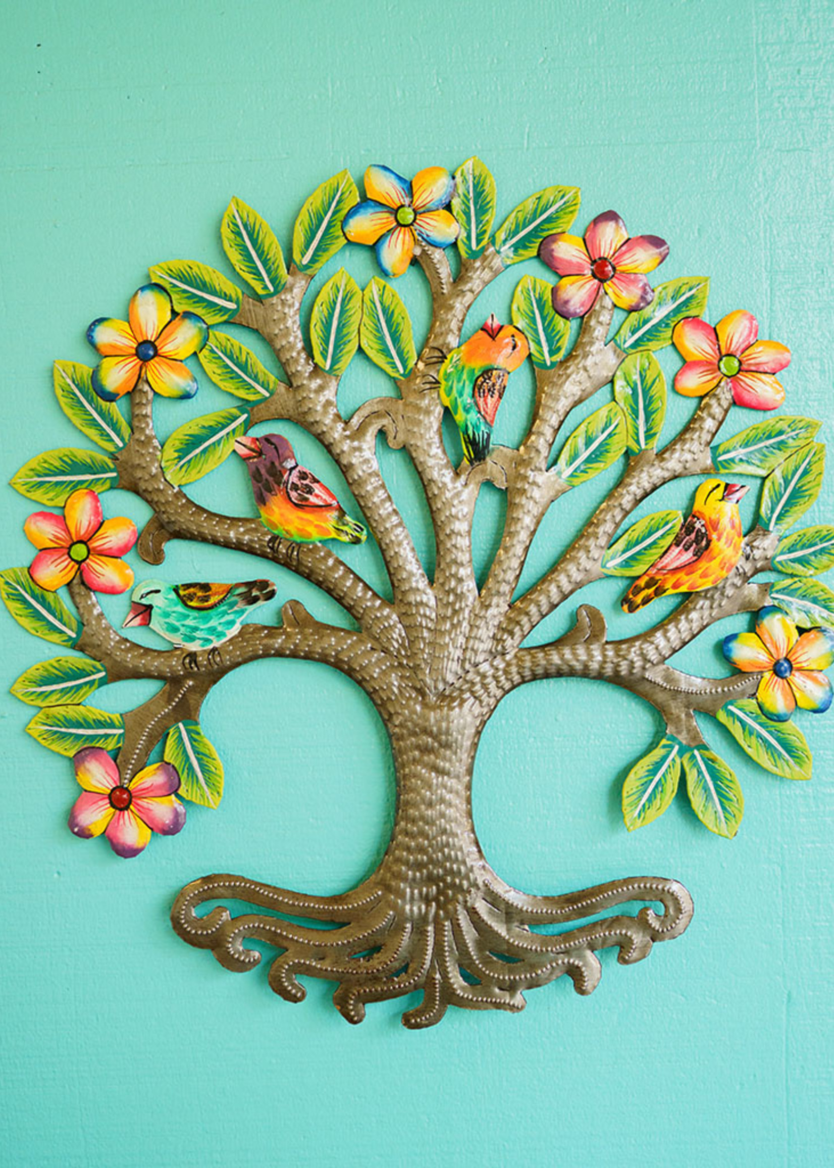 Painted Floral Halo Tree Metal Art