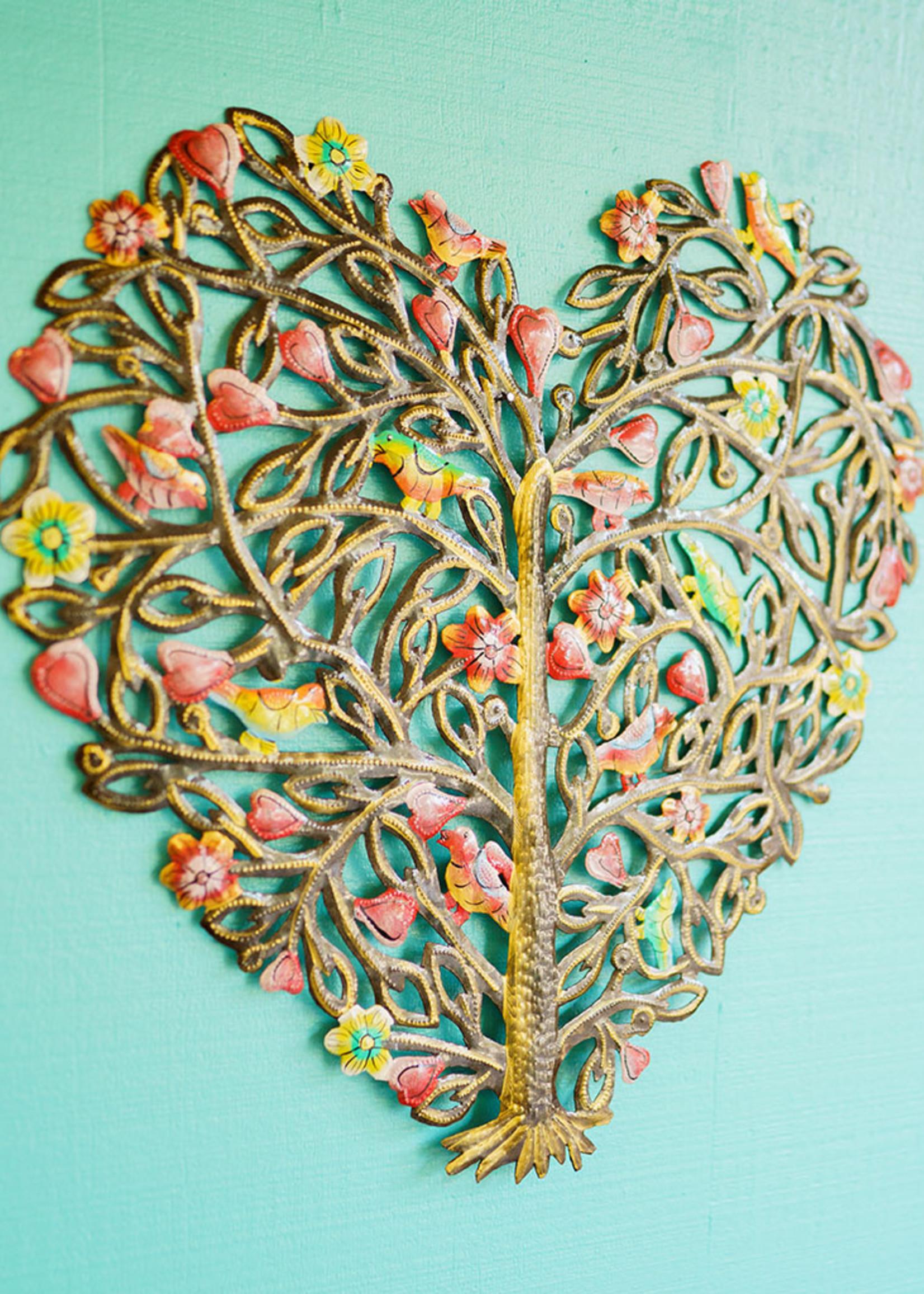 Beyond Borders Painted Heart Tree Metal Art