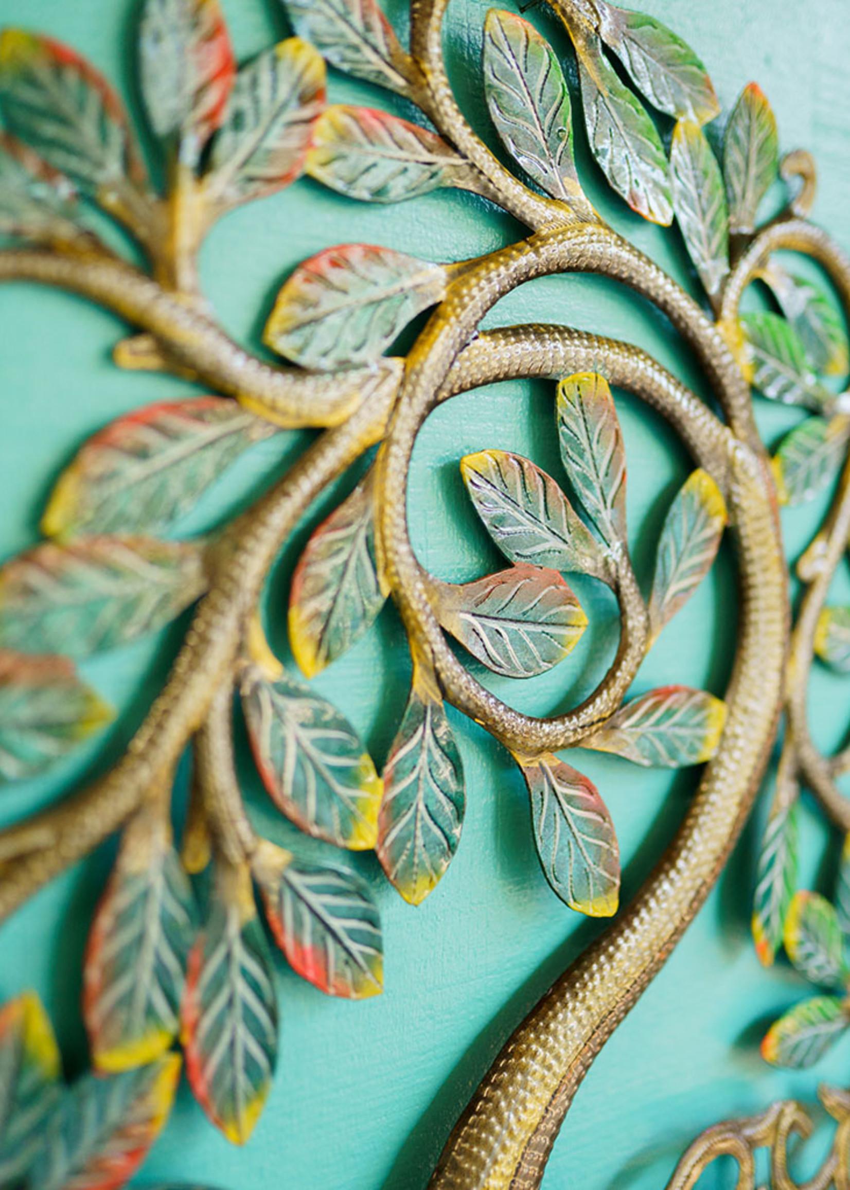 Painted Shining Tree Metal Art